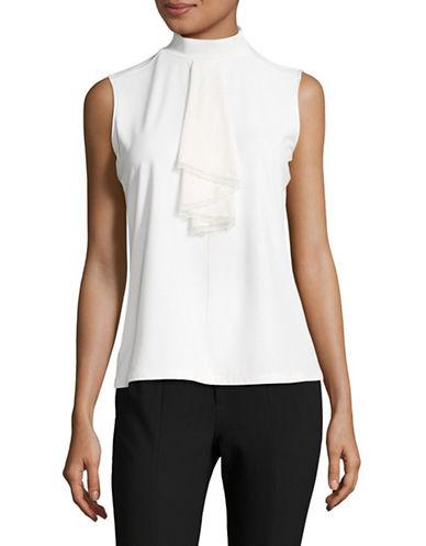 Karl Lagerfeld Paris Jabot Sleeveless Top-WHITE-X-Large