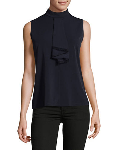 Karl Lagerfeld Paris Jabot Sleeveless Top-BLUE-Medium 89613545_BLUE_Medium