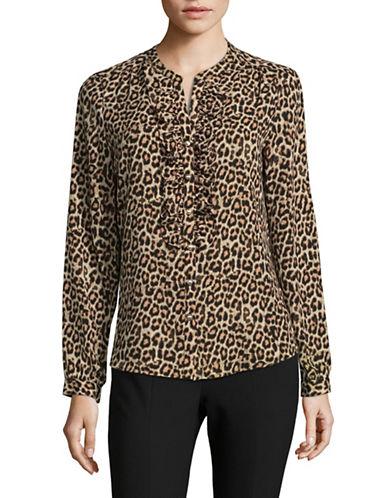 Karl Lagerfeld Paris Leopard Print Ruffle Blouse-WHITE-Small