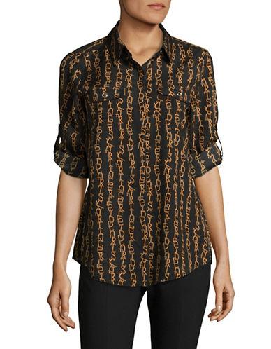 Karl Lagerfeld Paris Eiffel Button-Down Shirt-BLACK-Medium