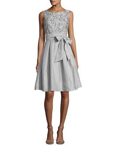 Eliza J Tie Waist Taffeta Fit-And-Flare Dress-SILVER-14
