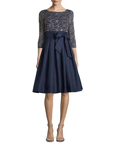 Eliza J Sequin and Box-Pleat Dress-BLUE-6