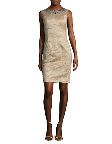 Eliza J Embellished Sweetheart Illusion Sheath Dress-BEIGE-14