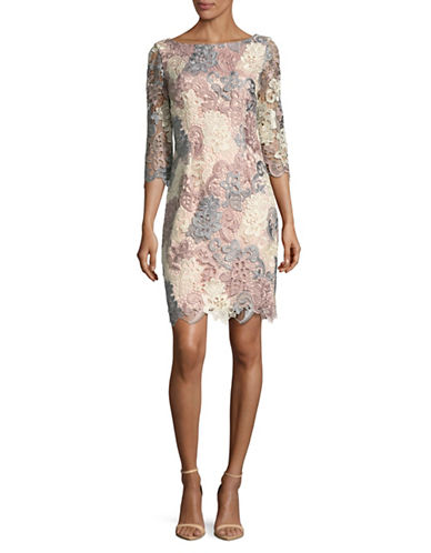 Eliza J Bateau Neck Floral Lace Sheath Dress-BLUSH MULTI-6
