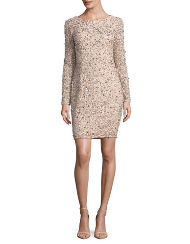 Adrianna Papell Sequin Beaded Shift Dress-PINK-10
