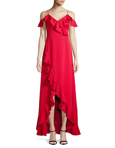 Aidan Aidan Mattox Flounce Cold-Shoulder Gown-RED-4