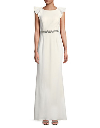 Adrianna Papell Cap-Sleeve Jewel Belted Gown-IVORY-6