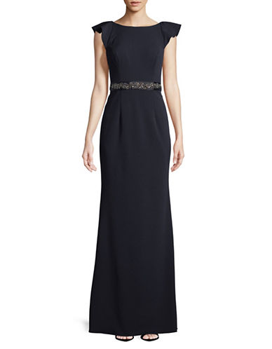 Adrianna Papell Cap-Sleeve Jewel Belted Gown-NAVY-14