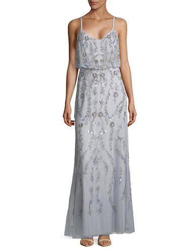 Adrianna Papell Beaded Mesh Blouson Gown-LIGHT BLUE-12