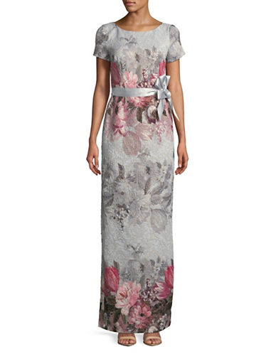 Adrianna Papell Floral Short-Sleeve Lace Gown-BLUE-8