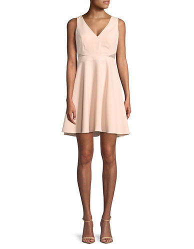 Aidan Aidan Mattox V-Neck Illusion Fit-and-Flare Dress-BLUSH-2