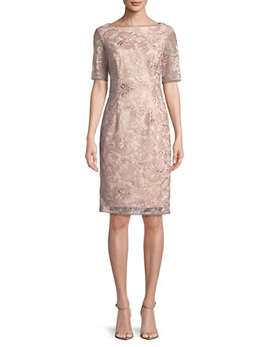 Adrianna Papell Sequined Mesh Sheath Dress 89906544