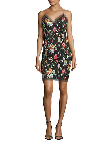 Rose Embroidered Sheath Dress by Aidan Aidan Mattox