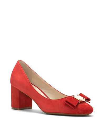 Cole Haan Tali Bow Suede Pumps-ORANGE-7