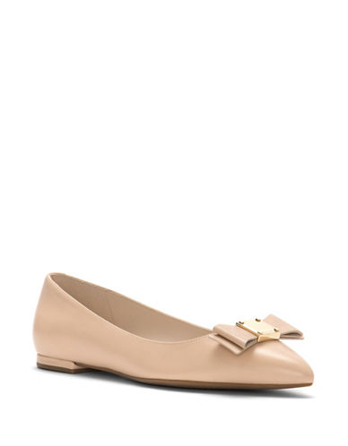 Cole Haan Tali Bow Leather Skimmer Flats-BEIGE-5