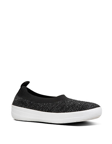 Fitflop Womens Uberknit Slip-On Sneakers-BLACK/GRAY-8.5