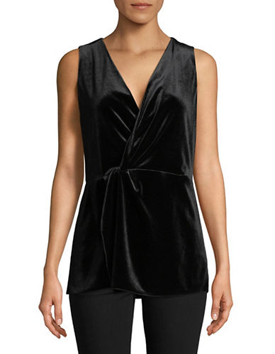 H Halston Surplice Twist Velvet Top-BLACK-Small