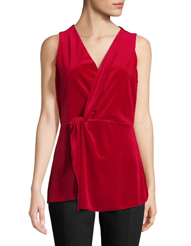 H Halston Surplice Twist Velvet Top-RED-Small