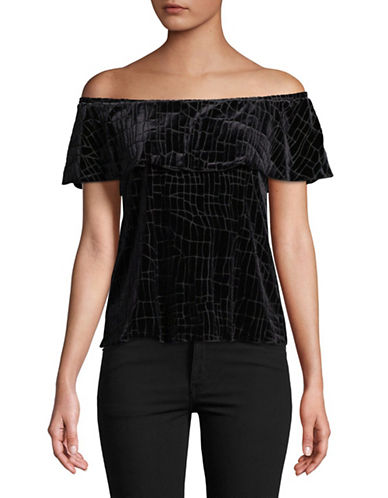 H Halston Off-The-Shoulder Velvet Top-BLACK-Medium