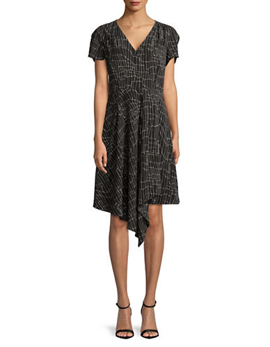 H Halston Surplice Asymmetric Dress-BLACK-Small