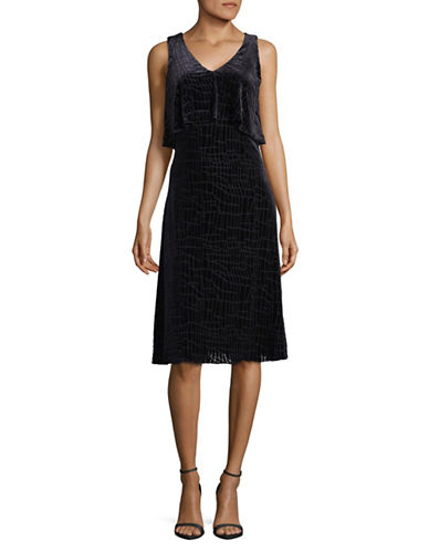 H Halston Sleeveless Velvet Dress-BLACK-4