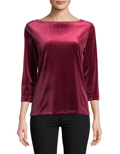 Imnyc Isaac Mizrahi Boat Neck Velvet Top-MERLOT-Medium