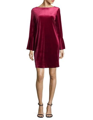 Imnyc Isaac Mizrahi Boat Neck Velvet Shift Dress-MERLOT-Large