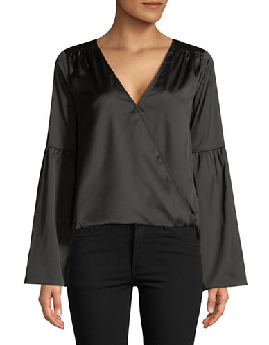 Highline Collective Bell Sleeve Wrap Blouse-BLACK-Large