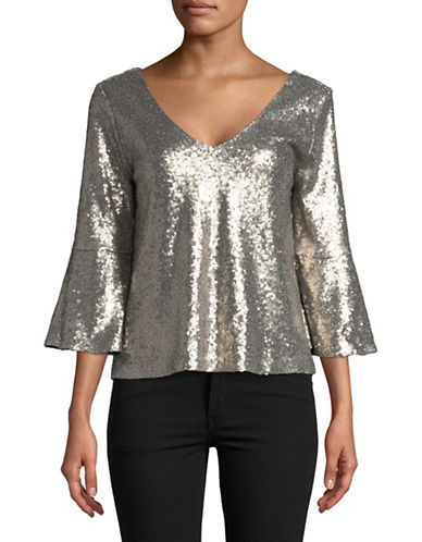 Highline Collective Flare-Sleeve Sequined Top-SILVER-Medium