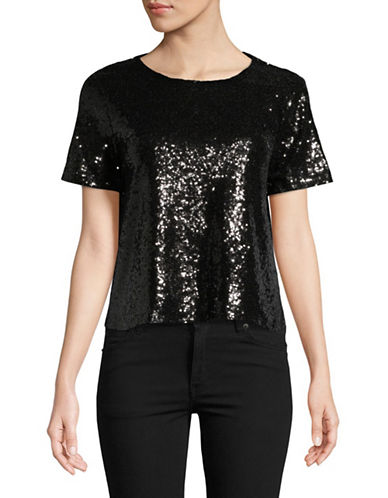 Highline Collective Cropped Short Sleeve Sequin Tee-BLACK-Medium