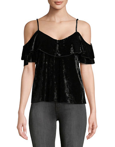Highline Collective Flounce Velvet Top-BLACK-Small