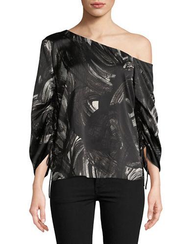 H Halston One-Shoulder Drawstring Sleeve Top-BLACK-Medium