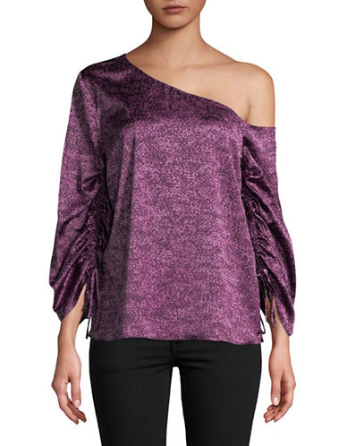 H Halston One-Shoulder Drawstring Sleeve Top-PURPLE-Large