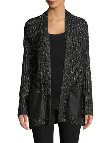 H Halston Mix Media Cardigan-BLACK-X-Large