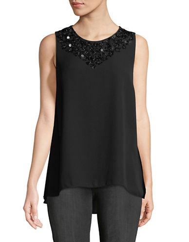Imnyc Isaac Mizrahi Embellished Neckline Blouse-BLACK-Small
