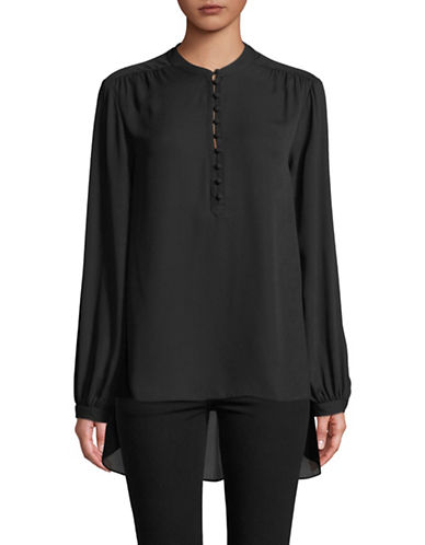 Imnyc Isaac Mizrahi Blousant Long-Sleeve A-Line Blouse-BLACK-X-Small
