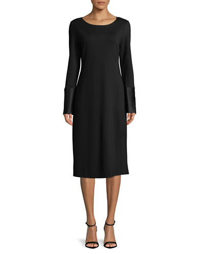 Imnyc Isaac Mizrahi Long-Sleeve Slit Knee-Length Dress-BLACK-X-Small
