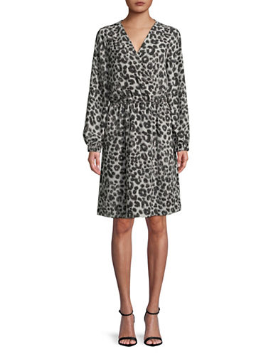 Imnyc Isaac Mizrahi Surplice Blouson Long-Sleeve Wrap Dress-GREY-X-Small