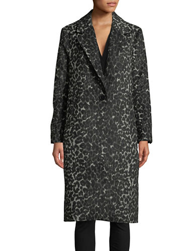 Imnyc Isaac Mizrahi Leopard Print Wool-Blend Long Coat-BLACK-Large 89708700_BLACK_Large