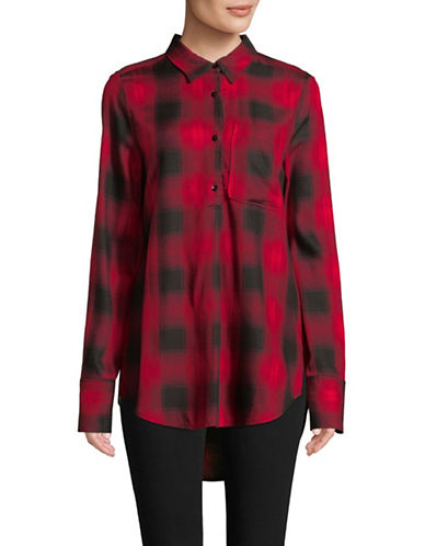 Highline Collective Pleat Front Plaid Blouse-WINE-Medium