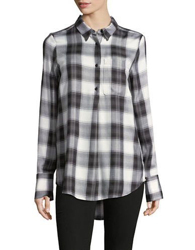 Highline Collective Pleat Front Plaid Blouse-WHITE-X-Small