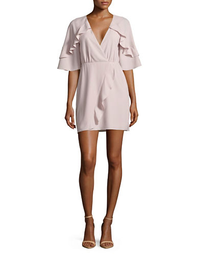 H Halston Primrose Flutter Wrap Dress-PINK-0