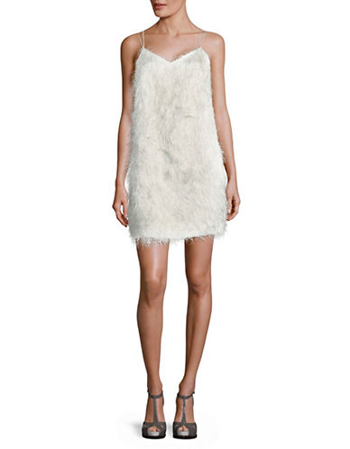 H Halston Sleeveless Fringe Slip Dress-WHITE-Large