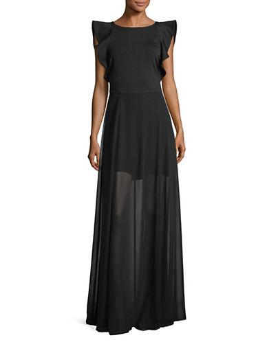 H Halston Ruffled Chiffon Gown-BLACK-6