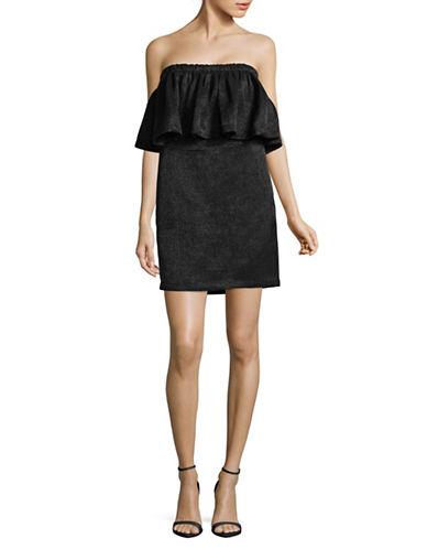 H Halston Flutter Strapless Dress-BLACK-Large