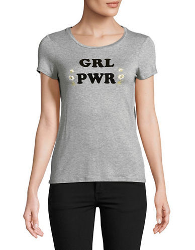 Highline Collective Girl Power Round Neck Tee-GREY-Large