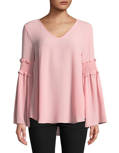 Imnyc Isaac Mizrahi Smocked Bell Sleeve Top-PINK-X-Small 89626277_PINK_X-Small