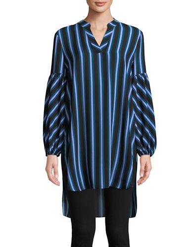 Imnyc Isaac Mizrahi Striped Hi-Lo Top-BLUE-X-Small