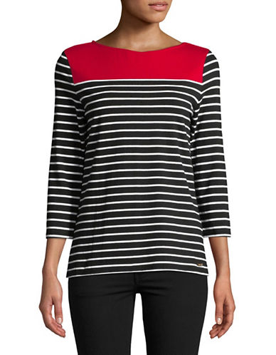 Imnyc Isaac Mizrahi Striped Boat neck Top-RED-Small