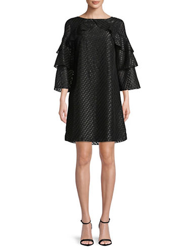 Imnyc Isaac Mizrahi Bateau Tier Bell Sleeve Dress-BLACK-Medium